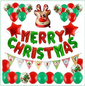 Merry Christmas Pack Latex Balloons Green & Red Xmas Decoration Foil Santa Elf