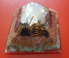 Orgone Pyramid Black Tourmaline-Selenite-Rose Quartz-Larimar Love Protection 9cm