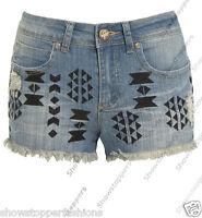 Size 8 10 12 14 16 NEW MID WAIST Aztec SHORTS Ladies DENIM RIP MID RISE JEAN