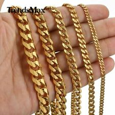 Mens Stainless Steel 3/5/7/9/11mm Gold Plated Curb Cuban Link Chain Necklace