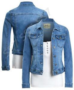 Womens Size 14 12 10 8 16 Stretch Fitted Denim Jacket Ladies Jean Jackets Blue