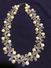 White Opalite Cultured White pearls Glass Beaded Sterling Nylon Necklace