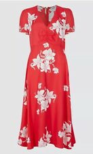 M&S & Alexa Chung Misty Dress Red White Print Tea Dress Size UK10 V-Neck NEW 99p