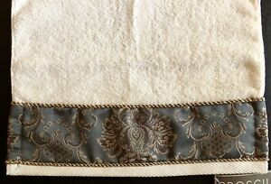 Croscill Hand Towel NWT Jacobean Embroidered Embellished Gold Cording Gunmetal