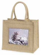 Silver Tabby Cat in Snow Large Natural Jute Shopping Bag Christmas Gif, AC-70BLN