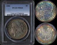 USA $1 1886 (PCGS MS64) *UNBELIEVABLE 2 SIDED RAINBOW TONING*
