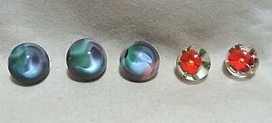 LOT OF 5 ANTIQUE GLASS BUTTONS 2 FLOWERS & 3 CATS EYE MARBLES STYLE