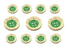 11 Green & Wood Color Sewing Buttons Set for Suit  Jackets, Blazer or Sport Coat