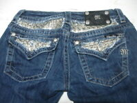 MISS ME Denim Women's Embellished Stretch Signature Rise Boot Cut Jeans Size 27