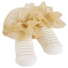 Mud Pie Birthday Princess Gold Stripe Ruffle Socks  0-12 Months