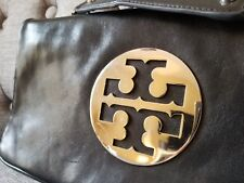 Tory Burch Reva Clutch Black/ Silver Metal Excellent Condition