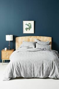 Anthropologie Textured Martina Grey White Woven Queen Duvet Cover