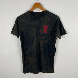 Death Row Records Mens T-Shirt Medium Black Brown Tie Dye Short Sleeve
