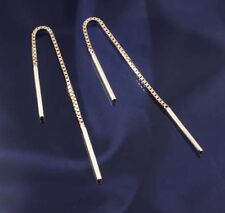 9ct Yellow Gold Box Chain Threader Style- Pull Through Earrings.