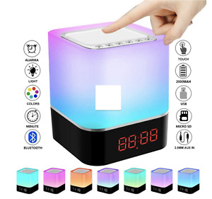 LED Touch Night Light, Bluetooth Speakers Portable Wireless Speaker, Alarm Clock