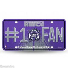 SACREMENTO KINGS NUMBER ONE FAN NBA BASKETBALL GLITTER LICENSE PLATE MADE IN USA