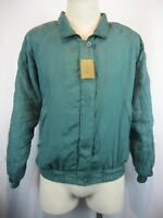 Womens NWT Bogari Green Quilted Silk Full Zip Bomber Style Jacket sz XL