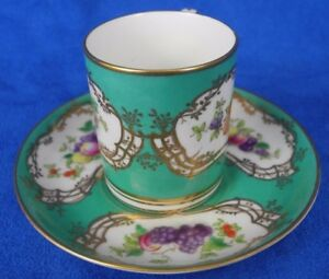 Antique England Coronet Demi Cup and Saucers