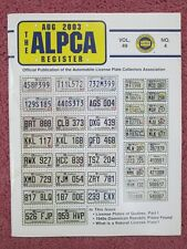 ALPCA License Plates Magazine August 2003 Covers Newfoundland Quebec Naturals