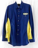 Mens Size M Vintage WRANGLER Western Shirt Long Sleeve Pearl Snaps Blue Yellow