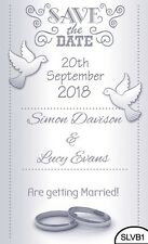 30 Save the Date Wedding Magnet Cards+ Envelopes Silver Love Birds Hearts Rings