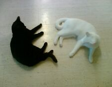 METAL REFRIGERATOR MAGNET Two Cats Black White Laying Next To Each Other Cat