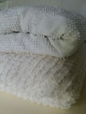 2 Vintage Chenille Cotton Bedspreads White  Sewing Craft Cutters hobnail diamond
