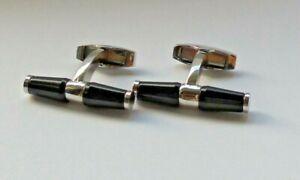 Jaguar Cufflinks Chrome Enamel BLACK Official Merchandise 50JJCLBAR Boxed NEW