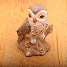Vintage Ceramic Owl Sitting On Branch Statue Figurine Mid Century Modern