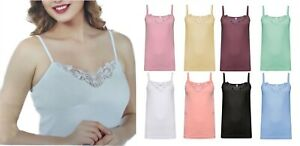 Ladies Plain Stretch Cotton Vest Top Lace Trim Cami Tank Strappy Camisole Lot
