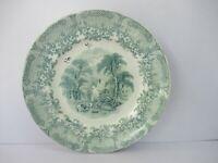 "Antique Staffordshire Pottery Green Transferware Plate English Scenery Rare""F208"