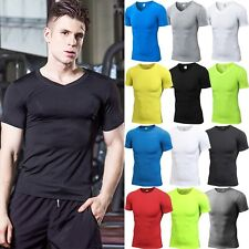 Men Compression Base Layer Short Sleeve T-Shirt Fitness Muscle Workout Tee Tops
