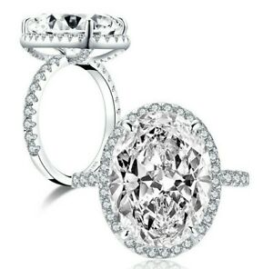 10-Carat Oval 925 Sterling Silver CZ Engagement Ring Wedding Band Size 3-12 A073
