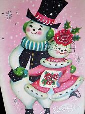 Vintage Christmas Card UNUSED Snowman Couple Fancy Hats Girl Pink Dress Fur Muff
