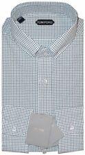 $730 NEW TOM FORD WHITE GREEN BROWN CHECK HAND MADE DRESS SHIRT EU 44 17.5