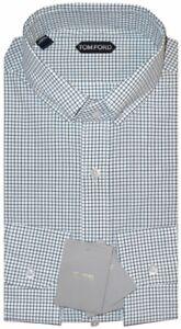 $730 NWT TOM FORD WHITE GREEN BROWN CHECK HAND MADE DRESS SHIRT EU 44 17.5