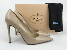 Prada Nude Patent Leather Pointy Toe Pump Heel Shoes 39.5 / 9.5