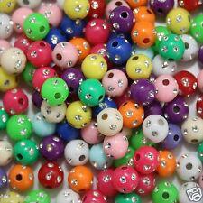 50 Kunststoff Fädelperlen 8mm Strass-Effekt-Perlen Glitzerperlen
