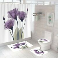 Floral Bathroom Rug Set Shower Curtain Thick Non Slip Toilet Lid Cover Bath Mat