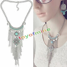 Bohemian Gypsy Retro Turquoise Tassel Coin Long Chain Pendant Necklaces Party