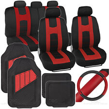 14pc Set Car Seat Covers, Rubber Mats & Steering Wheel Cover - Rome Sport  Red