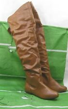 NEW LADIES  Womens TAN  Flat round toe Over Knee Sexy  Boots Size 7