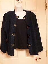 NWT C.D. Petites Women's Large Blue Blazer 2 piece NEW $60