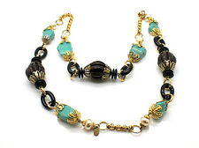 Lawrence Vrba Turquoise & Wood 18 KT Gold Plated Long Necklace
