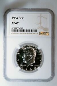 1964 KENNEDY HALF DOLLAR 50C NGC CERTIFIED PF 67 PROOF 90% Silver Coin