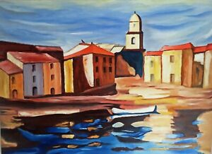 """CHARLES CAMOIN HAND PAINTED OIL PAINTING ON CANVAS """"St-TROPEZ"""""""