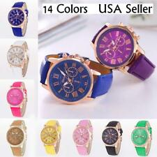 New Women's Geneva Roman Numerals Faux Leather Fashion Analog Quartz Wrist Watch