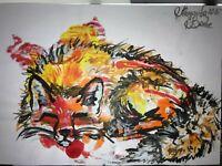 ORIGINAL Malerei PAINTING zeichnung drawing psy contemporary ART fuchs fox A4 om