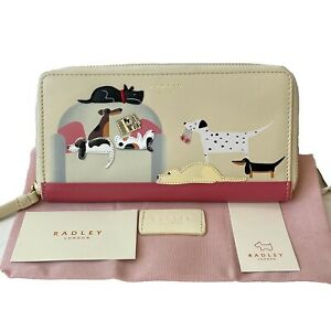 Radley And Friends Sunday Snooze Large Picture Purse Cream Leather Card Wallet