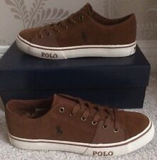 BNIB MENS POLO RALPH LAUREN CANTOR LOW SHOES/TRAINERS/SNEAKERS SIZE 8 IN BROWN